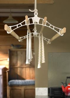 Pulleymaid™ suspended wooden clothes airer, traditional hanging drying rack