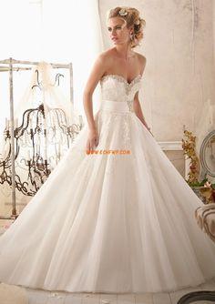 Robe de mariée princesse tulle appliques col en coeur