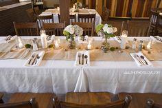 Wedding decor...burlap runners, mason jars with hydrangeas & rose bouquets in river rocks, candles in mason jars