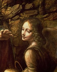 Detail of angel. Virgin of the Rocks. Leonardo da Vinci.