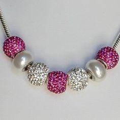 Fuschia Euro Style Charmed Swarovski Crystal Necklace