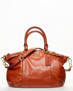 "Coach ""Madison"" Persimmon Leather Sophia Satchel.  I want!"