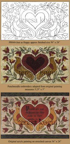 Folk Embroidery Patterns Hooked rugs - patterns by teresa kogut Rug Hooking Designs, Rug Hooking Patterns, Rug Patterns, Folk Embroidery, Hand Embroidery Patterns, Punch Needle Patterns, Primitive Patterns, Wool Art, Penny Rugs