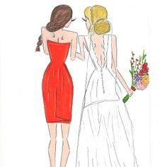 .@melsysillustrations   MOH and BRIDE custom order #fall #fallwedding #bride #moh #bridesmaids #maido...   Webstagram