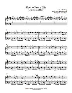 How to Save a Life by The Fray #piano Sheet Music   Advanced Level