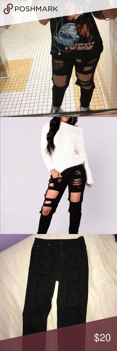 Black high waisted distressed boyfriend jeans Black high waisted distressed boyfriend jeans 10/10 condition size S in womens (23-26 inch waist) Jeans Boyfriend