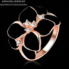 Anfasni anillo de esmalte blanco de calidad superior anillo de flores de color rosa de oro hecho con genuino swa stellux cristal austriaco ri-hq1006-a