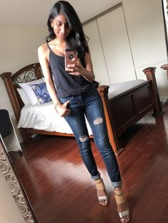 Black cami with ripped jeans and perfect metallic nude wedges! Wedges Outfit, Nude Wedges, Ripped Jeans, Cami, Kicks, Metallic, Casual, Pants, Outfits
