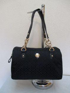 Bag Tommy Hilfiger Handbags Satchel 6930352 990 Color Black Gold Retail $79.00 #TommyHilfiger #Satchel