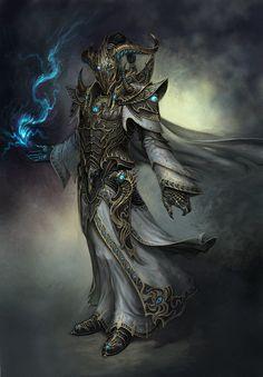 Tier 7 armor design for the Chaos Magus. Fantasy Male, Fantasy Armor, High Fantasy, Dark Fantasy Art, Fantasy World, Fantasy Concept Art, Fantasy Character Design, Character Art, Dnd Characters