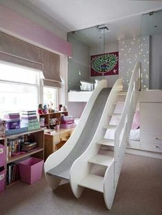 Built in bed with loft and slide for a freakin' fantastic kids' room! Built in bed with loft and slide for a freakin' fantastic kids' [. Cute Bedroom Ideas, Awesome Bedrooms, Girs Bedroom Ideas, Bed Ideas, Bedroom Inspiration, Nursery Ideas, Design Inspiration, Bedroom Loft, Dream Bedroom