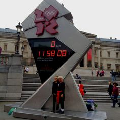 27th July. Countdown Clock on Trafalgar Square. Just under 12 hours to go until the Opening Ceremony