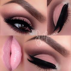 Ely Marino created this soft pink makeup look using the Anastasia Beverly Hills Catwalk Palette, glitter from Eye Kandy Cosmetics, and Motives Cosmetics Little Black Dress gel liner on the eyes. She used Dipbrow pomade in Ebony with Espresso brow gel over the top,and her...