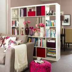 bookcase room divider, possibly something like this from Ikea..