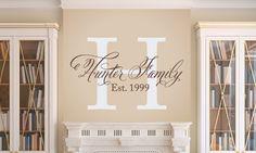 Elegant Family Wall Decal  Family Monogram  by TweetHeartWallArt, $30.00