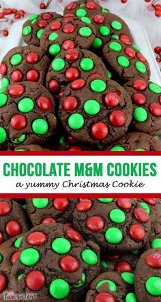 Chocolate MM Christmas Cookies - a yummy Christmas cookie! This yummy homemade MM cookie recipe is a keeper. Your family (and Santa!) will beg for more of these crunchy and delicious Christmas cookies. Chocolate M&m Cookies Recipe, M&m Cookie Recipe, Chocolate Christmas Cookies, Chocolate Recipes, Cookie Recipes, Chistmas Cookies, Chocolate Chocolate, Dessert Recipes, Christmas Lunch
