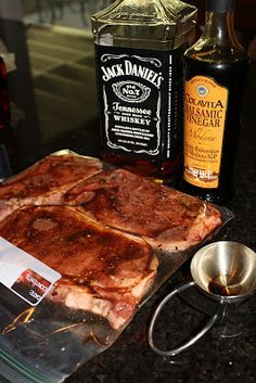 Ingredients for 3 New York Steaks:    ½ Cup Balsamic Vinegar    ½ Cup Whiskey (I used Jack Daniel's. You can use ... Meat Marinade, Marinated Steak, Steak Marinades, Grilled Steaks, Grilling Recipes, Meat Recipes, Cooking Recipes, Traeger Recipes, I Love Food