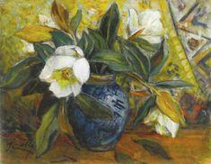 İbrahim Çallı, Still Life with Magnolias, oil on canvas, 39 x 50cm.