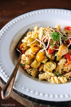Green and red tomato ricotta pasta - great way of using green tomatoes in the fall