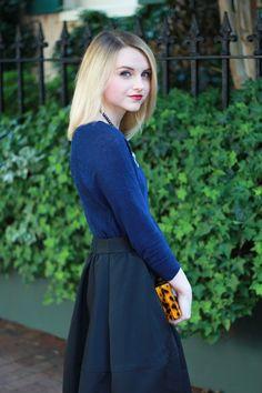 Poor Little It Girl - J.Crew Navy Sweater, Express Black Midi Skirt, Design Darling Tortoise Clutch and ASOS Metallic Heels