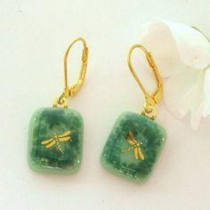 Gold Dragonfly Fused Glass Earrings Sea Foam Green by GreenhouseGlassworks, $16.00