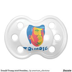 Donald Trump 2016 President Cartoon Pacifier. Donald Trump for President cartoon pacifier with an illustration showing head of American real estate magnate, television personality, politician and Republican 2016 presidential candidate Donald John Trump with words Trump 16 done in retro style. #Trump2016 #republican #americanelections #elections #vote2016 #election2016