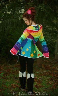 Short Rainbow Tournedot Dress With Stars