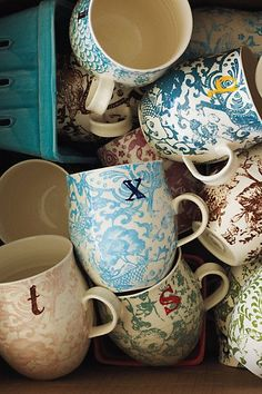 """I love the """"A"""" mug! Anthropologie - Homegrown Monogram Mug Anthropologie Mugs, Coffee Cups, Tea Cups, Drink Coffee, Coffee Beans, Green Label, Little Presents, Do It Yourself Home, Back To Nature"""