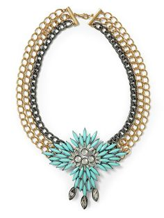 Sabine Turquoise Statement Necklace - Turquoise/Gold/Gunmetal