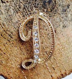 Gold rhinestone Letter D Brooch