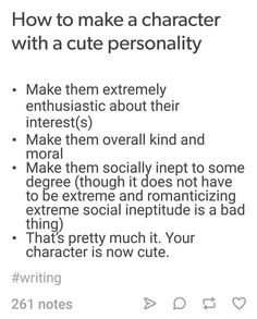 How to make a character with a cute personality Writing Promps, Book Writing Tips, Writing Characters, Writing Resources, Writing Help, Writing Skills, Creative Writing, Character Prompts, Writing Ideas
