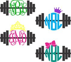 Barbell Monogram Decal  Crossfit by ChicksDigVinyl on Etsy, $5.00
