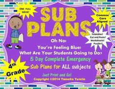Fourth Grade Interactive Emergency Substitute plans! One WEEK's worth of engaging foldables, printables and interactive activities to keep your students engaged and busy while you are out. All Subjects! CCSS aligned! $