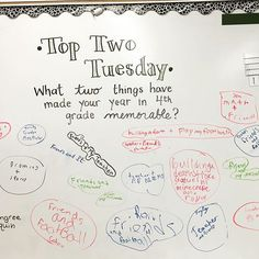 Today was Top Two Tuesday! ✏️ #miss5thswhiteboard What two things have made your year in 4th grade memorable?