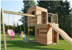 Play Structure Design, Pictures, Remodel, Decor and Ideas - page 5 Outdoor recreation or outdoor Backyard Playset, Backyard Playhouse, Build A Playhouse, Backyard Playground, Backyard For Kids, Playhouse Ideas, Kids Playset Outdoor, Wood Playground, Modern Playground