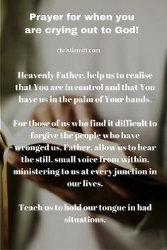 prayer for those who are crying out to god