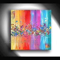 Decoración de pared - JEAN SANDERS --90x90x4cm - abstrakt/bunt - hecho a mano por JeanSanders en DaWanda