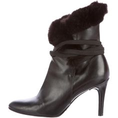 Pre-owned Dolce & Gabbana Fur-Trimmed Ankle Boots ($220) ❤ liked on Polyvore featuring shoes, boots, ankle booties, black, black ankle booties, black bootie, leather booties, black boots and black bootie boots