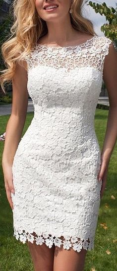 Nice! This short wedding dress is so cute with the lace floral appliques! Lace Backless Short Wedding Dress With Detachable Tulle Skirt. Sold by Amazon: http://www.cutedresses.co/go/Sexy-Lace-Backless-Short-Wedding-Dress