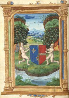 Mi-parti de France et de Savoie (f°1v) -- «Les Remedes de l'une et l'autre fortune», de «maistre Françoys Petrarche», XVIe s. [BNF Ms Français 224 - ark:/12148/btv1b8529704q] -- ?Armes de Charlotte de Savoie (1445 – 1483), seconde épouse de Louis XI, roi de France.
