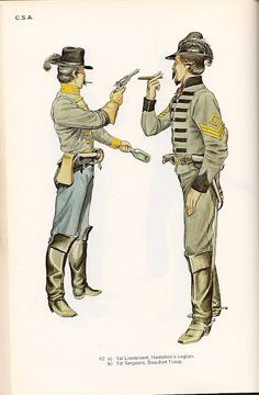 CSA Cavalry, 1st Lieutenant Hampton's Legion and 1st sergeant Beaufort Troop