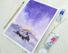 Starry night painting ORIGINAL art work winter place by ImbirArt