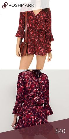 23a9bf08a11 Free People All the Right Ruffles romper Berry colored floral playsuit with  3 4 length