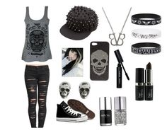 """""""Black Veil Brides/Emo/Gothic"""" by vanilla-cokeskittles ❤ liked on Polyvore featuring BLANKNYC, Converse, 2Me Style, Bobbi Brown Cosmetics, Nails Inc. and King Baby Studio"""