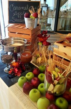 Fun interactive food station for your weddings| fall food stations| caramel apple stations| unique weddings ideas| fall wedding ideas| south jersey weddings
