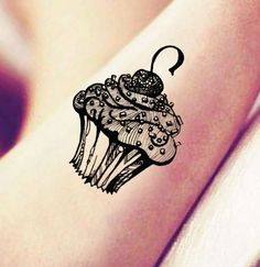 Cupcake Temporary Tattoo Rub On Individual Design by ABlinkInk