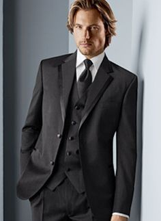 Attractive Black Single Breasted Button Worsted Groom Wedding Tuxedo Item Code:#08360031172