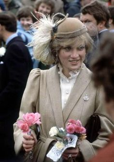 Princess Diana meeting the crowds on a wet day in Carmarthen during her first official visit to Wales. - 1981