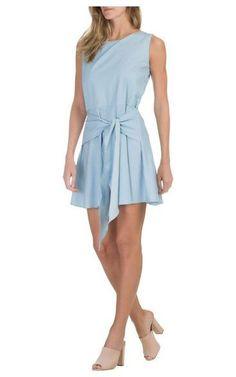 Vestido listras amarração Isabella Fiorentino - azul