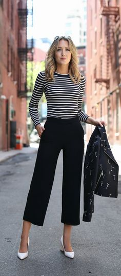 navy and white striped long sleeve crew neck shirt, navy and white three season jacket, white pointed toe block heel pumps, navy wide leg cropped culottes pants, classic pieces to wear anytime of year, lob loose beach waves, silver hoop earrings // work wear, casual style, grey jason wu